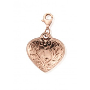 Large Embossed Heart Pendant - Rose Gold