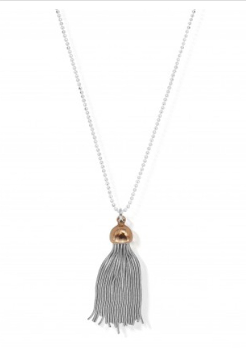 Diamond Cut Chain Necklace With Tassel Pendant - Silver main image