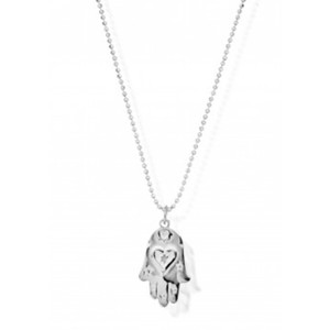 Diamond Cut Chain Necklace with Starry Hamsa Hand Pendant - Silver