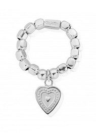 ChloBo Chunky Decorated Heart Ring - Silver