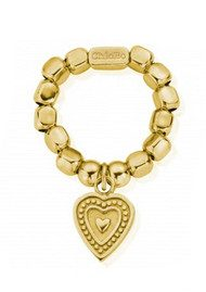 ChloBo Chunky Decorated Heart Ring - Gold