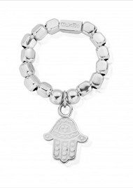 ChloBo Chunky Decorated Hamsa Hand Ring - Silver