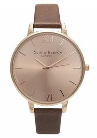 Olivia Burton Big Dial Rose Gold Plated Watch - Brown