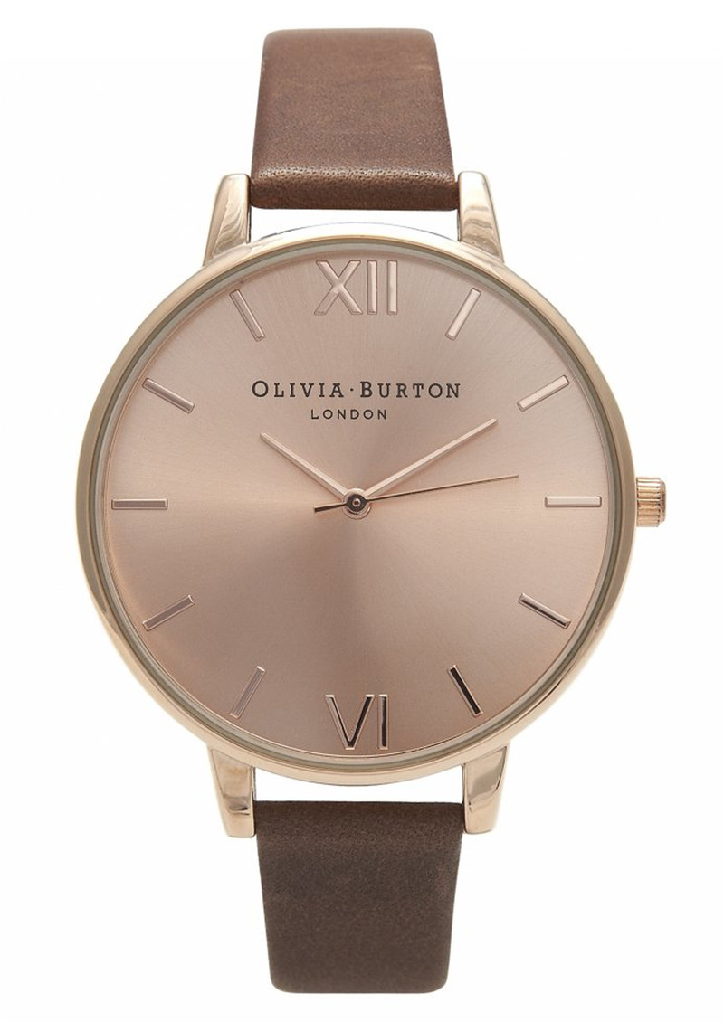 Olivia Burton Big Dial Rose Gold Plated Watch - Brown main image