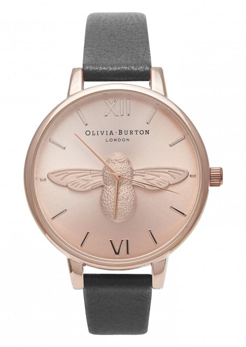 Olivia Burton Moulded Bee Watch - Black & Rose Gold main image