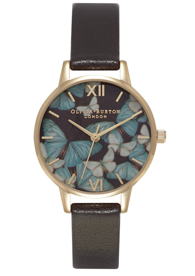 Olivia Burton Woodland Multi Butterfly Watch - Dark Chocolate & Gold main image