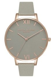 Olivia Burton Big Grey Dial Watch - Grey & Rose Gold