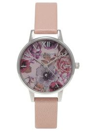Olivia Burton Enchanted Garden Floral Midi Dial Watch - Dusty Pink & Silver