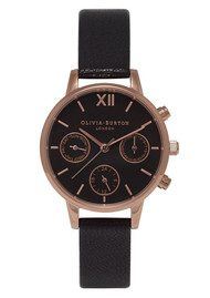 Olivia Burton Midi Chrono Detail Watch - Black & Rose Gold