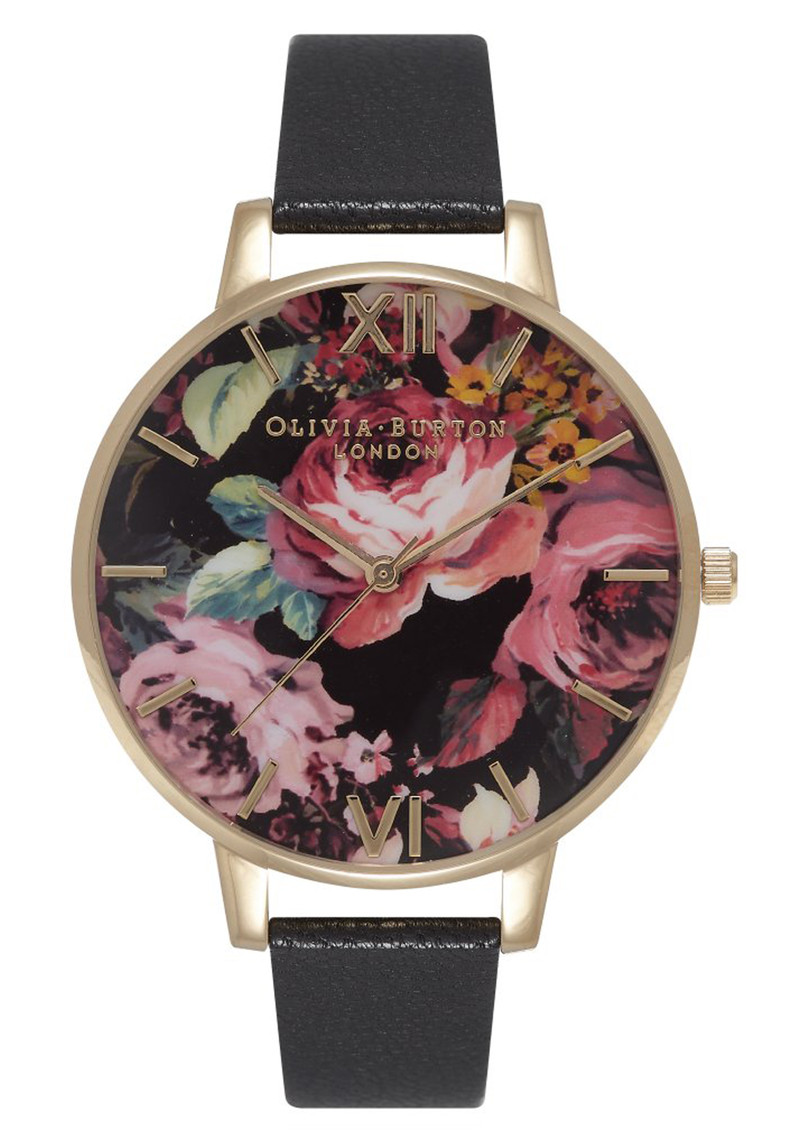 Olivia Burton Painterly Prints Watch - Black & Gold main image