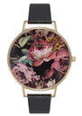 Olivia Burton Painterly Prints Watch - Black & Gold
