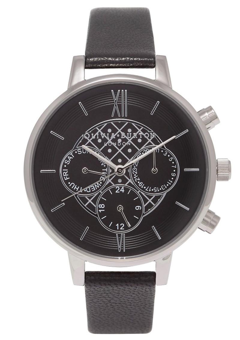 Olivia Burton Chrono Detail Black Dial Watch - Black & Silver main image