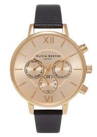 Olivia Burton Chrono Detail Sunray Watch - Black & Gold