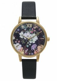 Olivia Burton Flower Show Floral Watch - Black & Gold