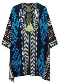 Hale Bob Ilene Printed Hooded Poncho - Teal