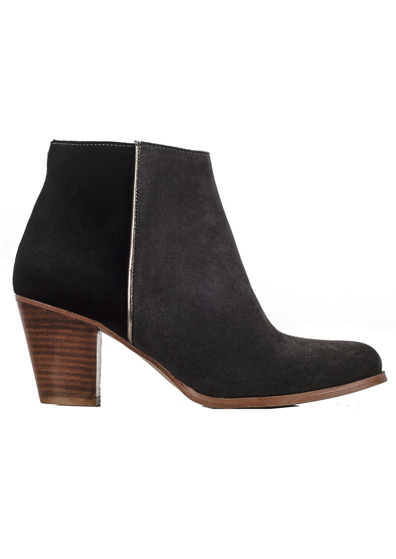 A COPENHAGEN Amber Suede Ankle Boots - Dark Grey and Black main image