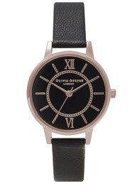 Olivia Burton Wonderland Black Dial Watch - Rose Gold