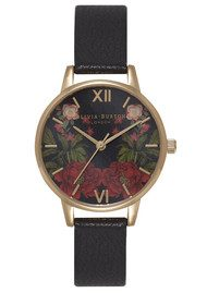 Olivia Burton Oriental Opulence Floral Mirror Watch - Black & Gold