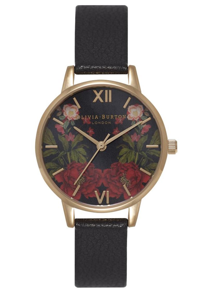 Olivia Burton Oriental Opulence Floral Mirror Watch - Black & Gold main image