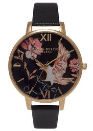 Olivia Burton Oriental Opulence Bird Watch - Black & Gold