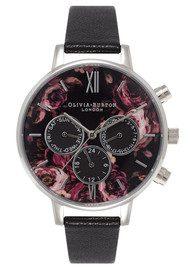 Olivia Burton Painterly Print Floral Multi Dial Watch - Black & Silver