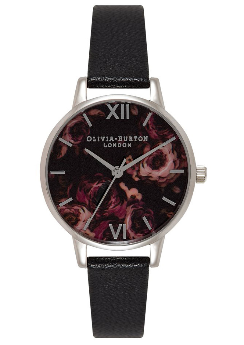 Olivia Burton Painterly Print Floral Midi Dial Watch - Black & Silver main image