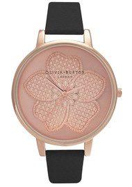 Olivia Burton Enchanted Garden 3D Flower Watch - Black & Rose Gold