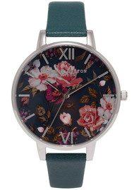 Olivia Burton Winter Garden Floral Watch - Teal & Silver