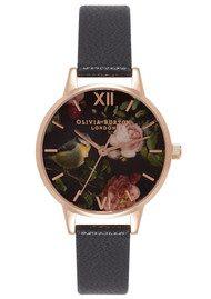 Olivia Burton Woodland Bird Watch - Black & Rose Gold