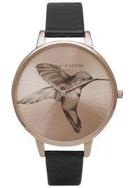 Olivia Burton Animal Motif Hummingbird Watch - Sunray Rose Gold & Black