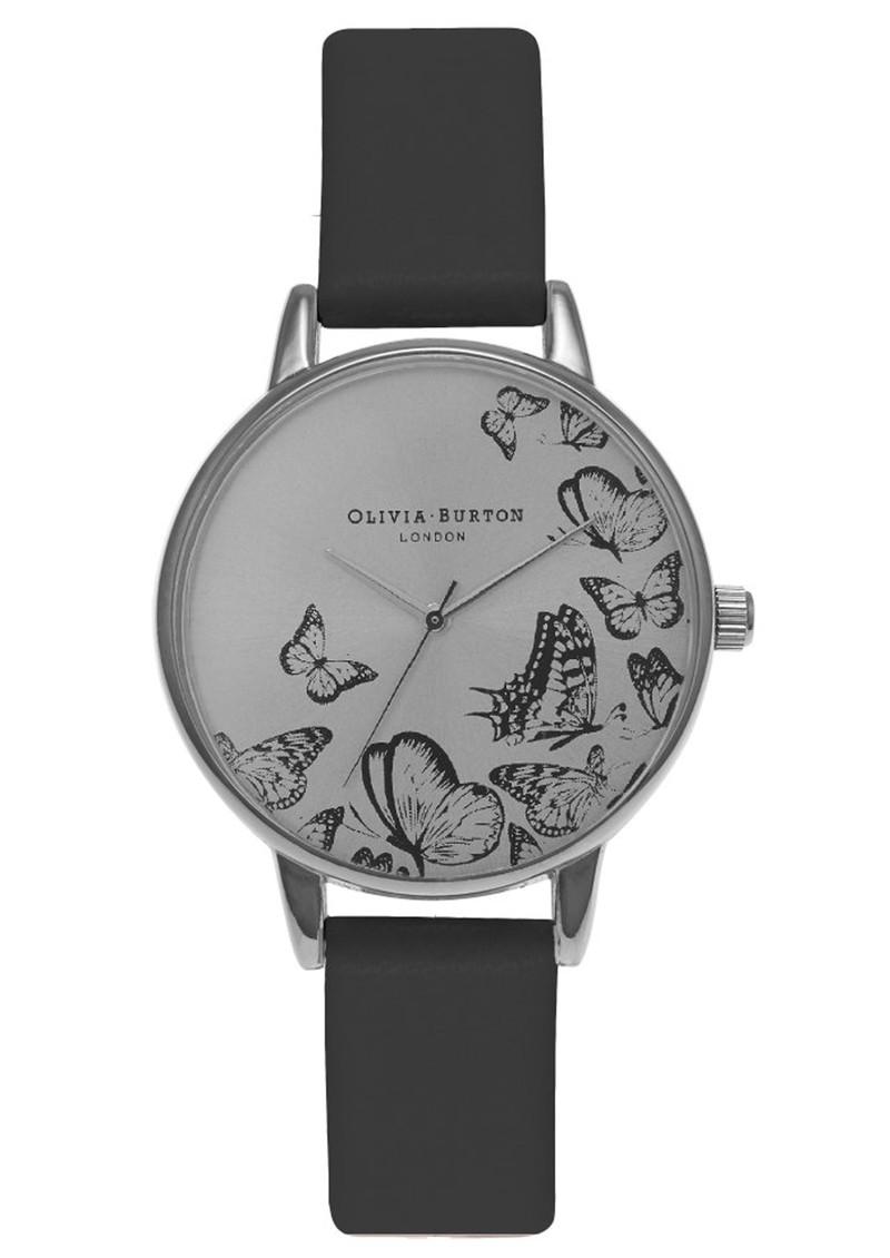 Olivia Burton Animal Motif Multi Butterfly Watch - Black & Silver main image