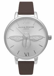 Olivia Burton Moulded Bee Watch - Brown & Silver
