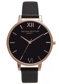 Olivia Burton Big Black Dial Watch - Black & Rose Gold
