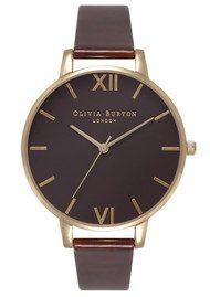 Olivia Burton Big Brown Dial Watch - Tortoise Patent & Gold