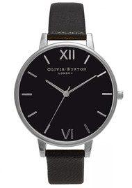 Olivia Burton Big Black Dial Watch - Black & Silver