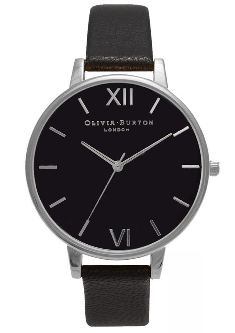 Olivia Burton Big Black Dial Watch - Black & Silver main image