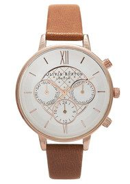 Olivia Burton Chrono Detail Watch - Tan & Rose Gold