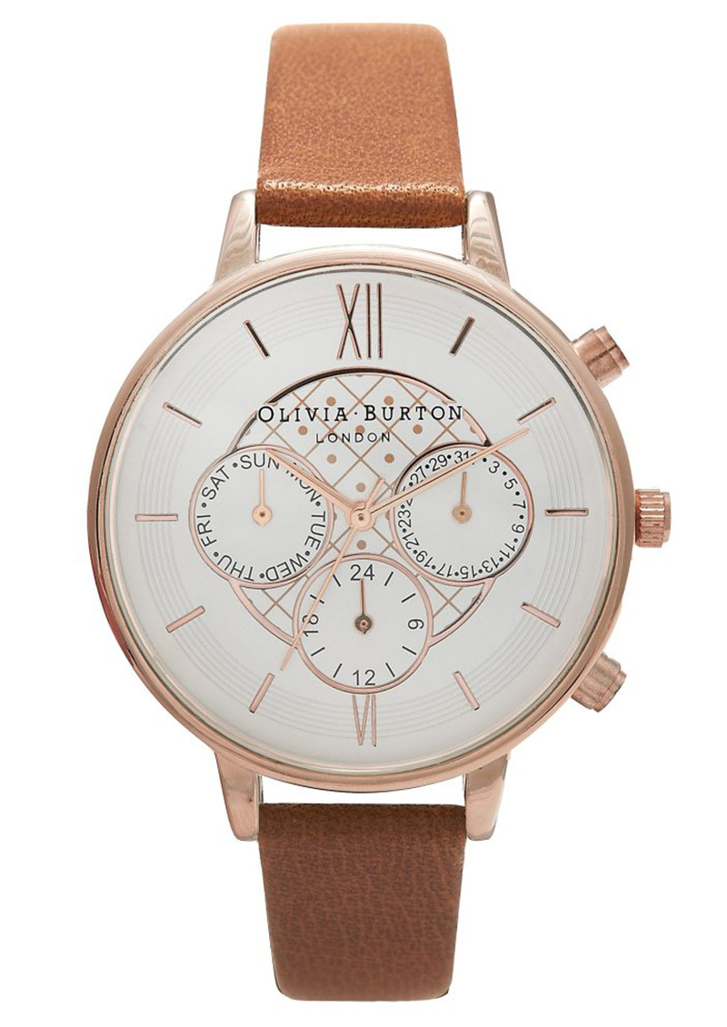 Olivia Burton Chrono Detail Watch - Tan & Rose Gold main image