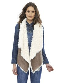 Unreal Fur Duet Reversible Vest - Taupe & Cream