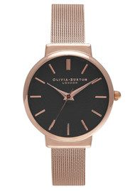 Olivia Burton Hackney Black Dial Watch - Black & Rose Gold