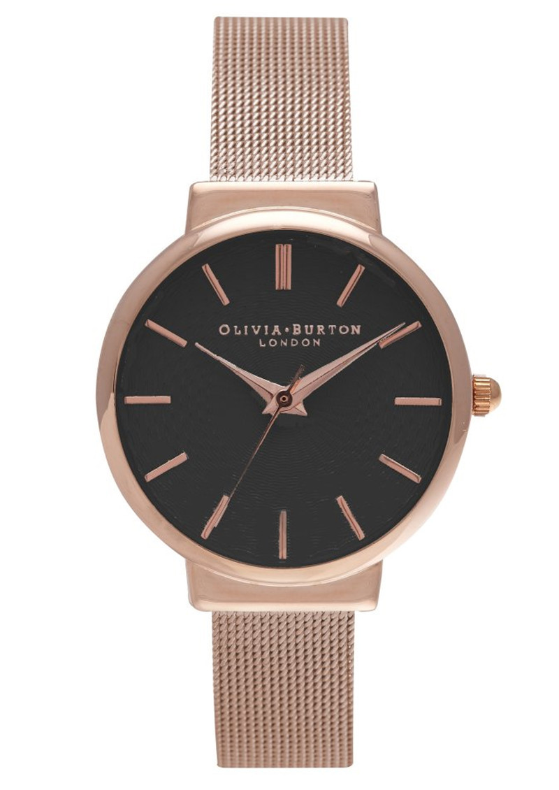 Olivia Burton Hackney Black Dial Watch - Black & Rose Gold main image