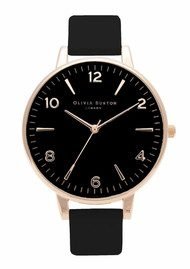 Olivia Burton Modern Vintage Large Black Dial Watch - Black & Rose Gold
