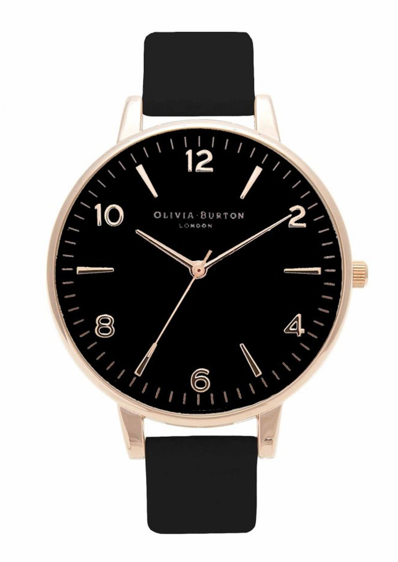 Olivia Burton Modern Vintage Large Black Dial Watch - Black & Rose Gold main image
