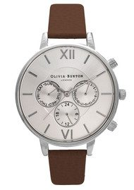 Olivia Burton Chrono Detail Sunray Watch - Brown & Silver
