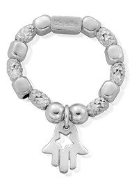 ChloBo Sparkle Star in Hamsa Hand Ring - Silver