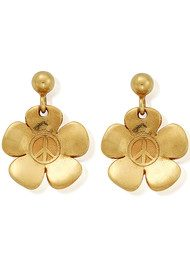 ChloBo Peace Flower Earrings - Gold
