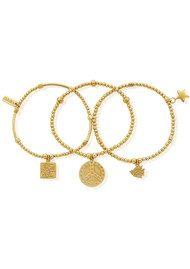 ChloBo Set of 3 Peace Bracelets - Gold