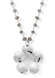 ChloBo Labradorite Peace Flower Chain Necklace - Silver