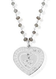 ChloBo Labradorite Decorated Flower Heart Chain Necklace - Silver