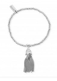 ChloBo Mini Disc Bracelet with Tassel Charm - Silver